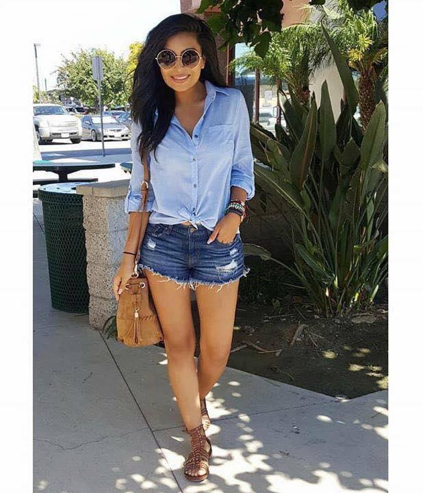 Look casual para mujer con shorts