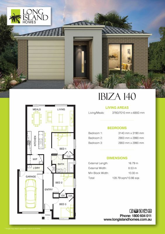 Modern designs - house with 3 bedrooms and 1 bathroom with one floor
