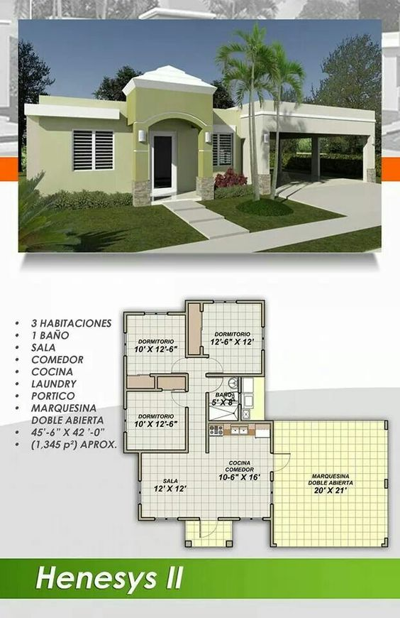 Modern designs - house with 3 bedrooms and 1 bathroom with garage