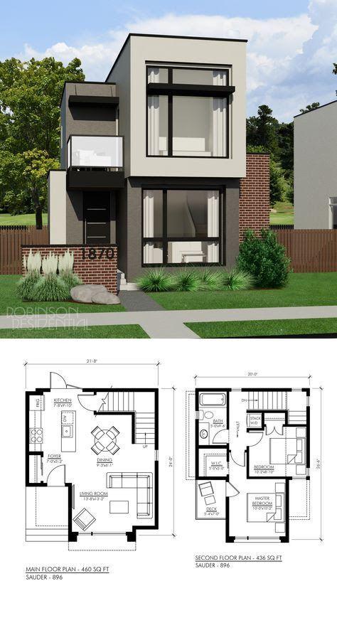 Planos Diseños interiores y exteriores de casas de dos pisos