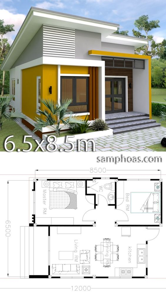 Planos de casas con medidas exactas de 6.5 x 8.5 m2