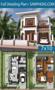 Planos de casas de dos pisos gratis de 7 x 10