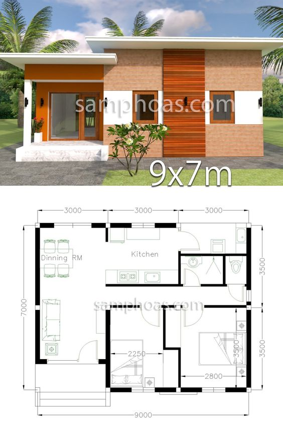 Planos de casas modernas de 9 x 7 m2