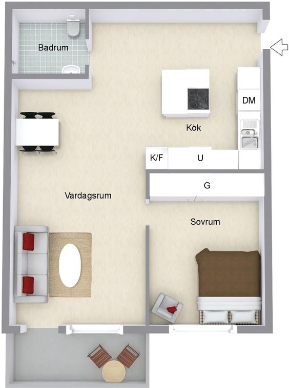 Plans of small houses of 42 m2 with one bedroom
