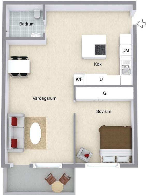 Planos de casas pequeñas de 42 m2 con un dormitorio