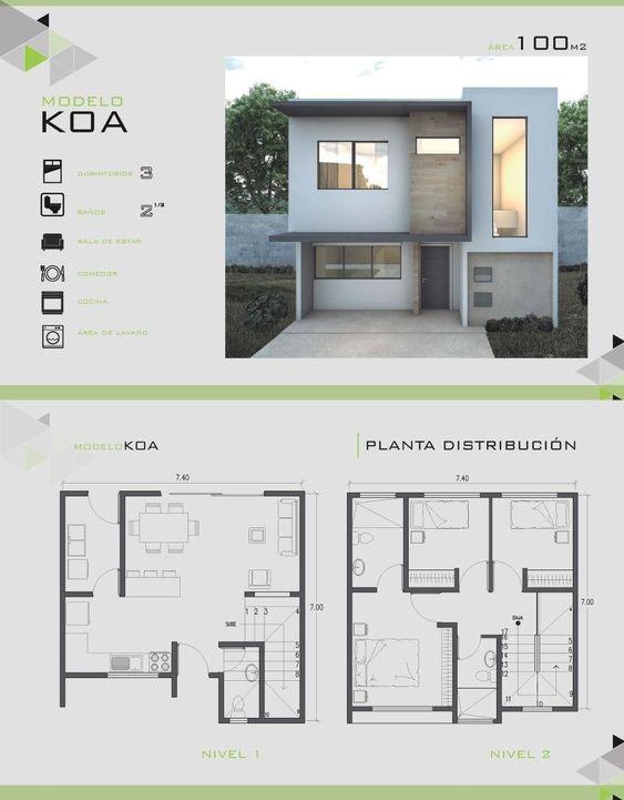 Planos de fachadas de casas de 2 pisos de 100 m2