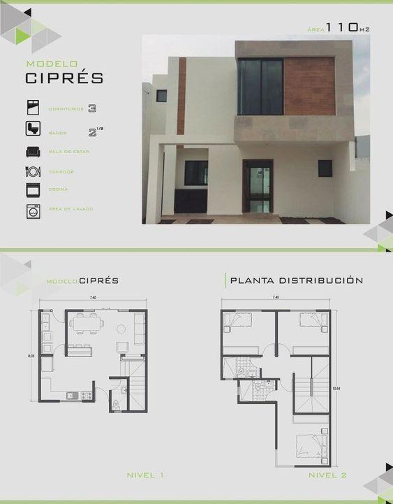 Planos de fachadas de casas de 2 pisos de 110 m2
