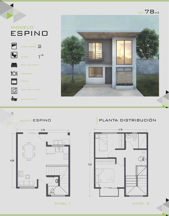Planos de fachadas de casas de 2 pisos de 78 m2