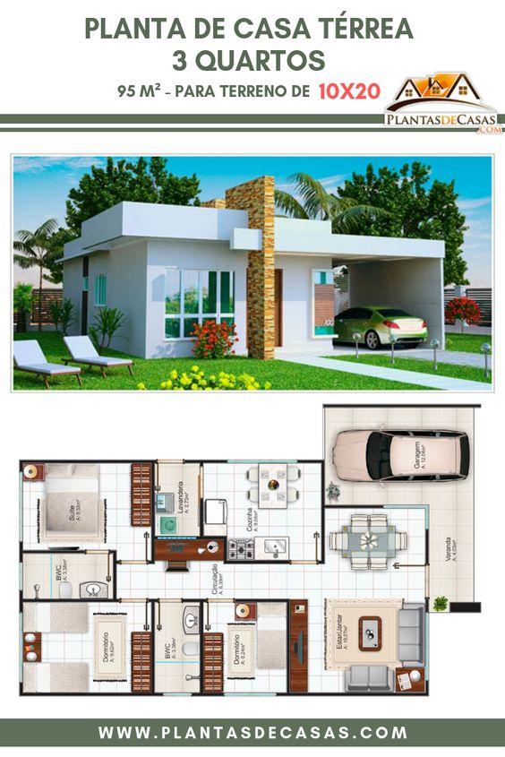 Planos de fachadas de casas pequeñas de 95 m2 para terreno de 10 x 20