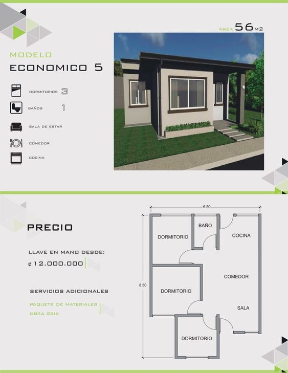 Modern Plans and Designs - house with 3 bedrooms and 1 bathroom