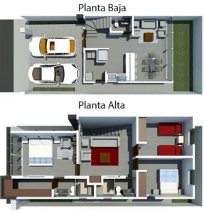 Planos y diseño de duplex con tres dormitorios