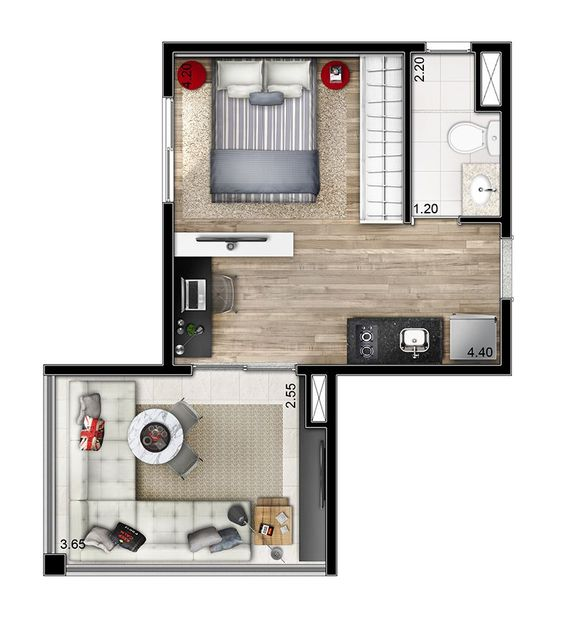 tiny flat houses with a room