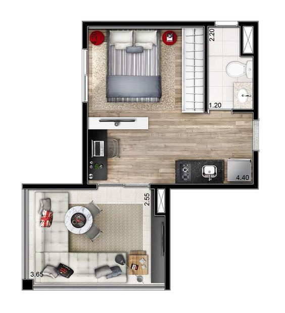 casas diminutas planos con una habitacion