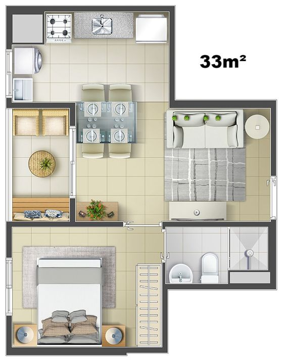 diseños de casas pequeñas de un solo dormitorio de 33 m2
