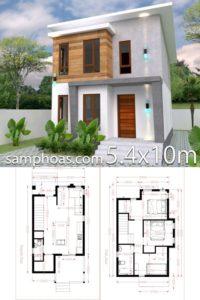 modelos de casas de dos pisos y sus planos de 5.4 x 10