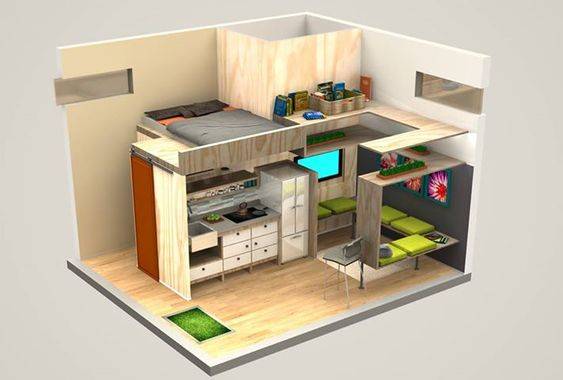 4x18 one-bedroom house plans