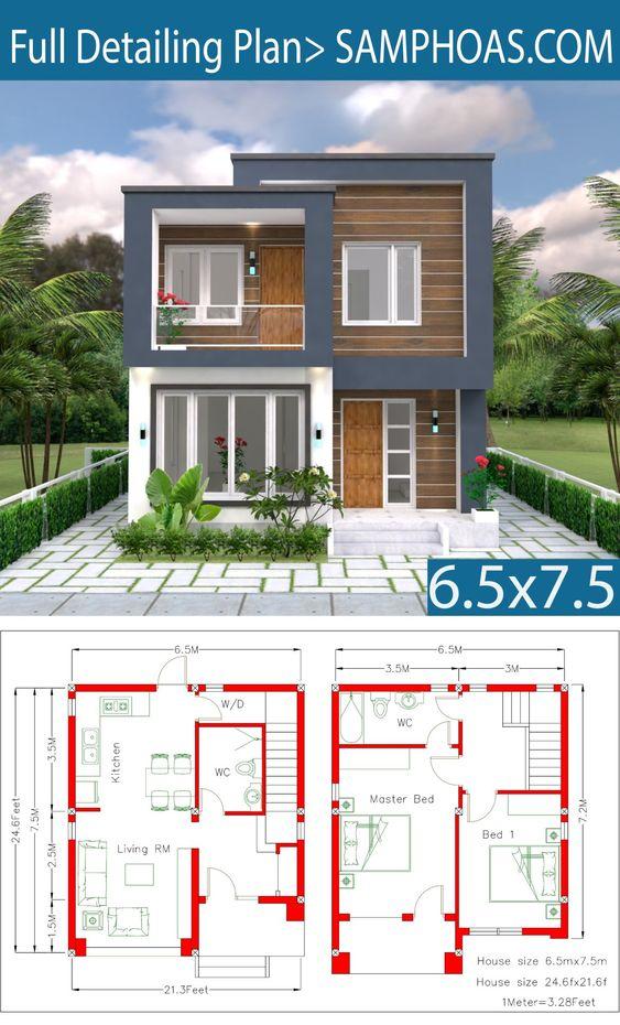 planos de casas de dos pisos sencillas de 6.5 x 7.5