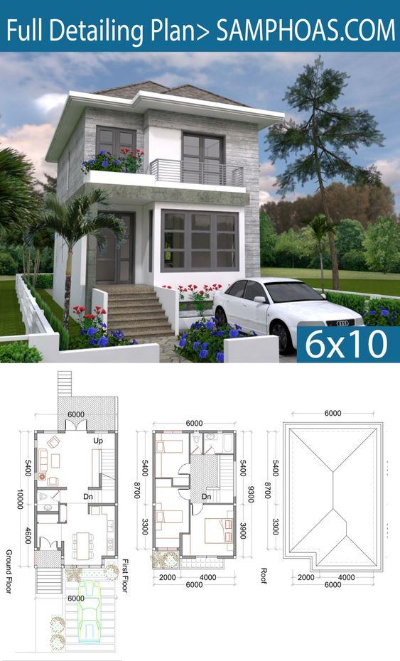 planos de casas dos pisos modernas de 6 x 10