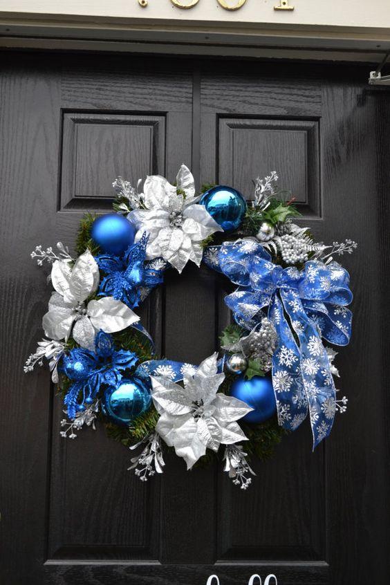 Adornos para puerta de navidad plata y azul