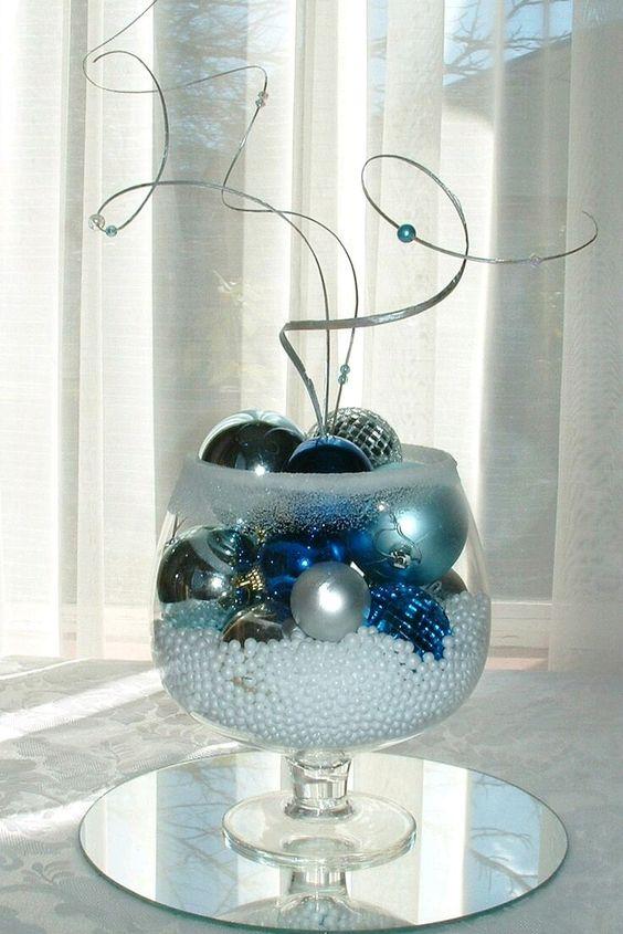 Centros de mesa de navidad plata y azul