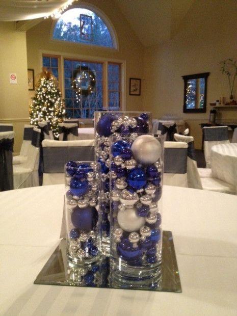 Decoración de navidad plata y azul