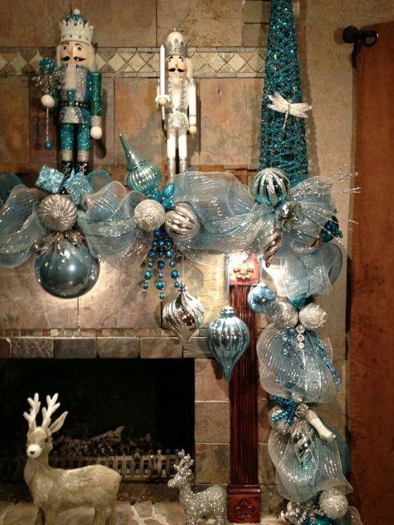 Guirnaldas de navidad plata y azul