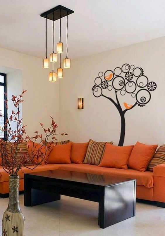 Sala color beige y naranja