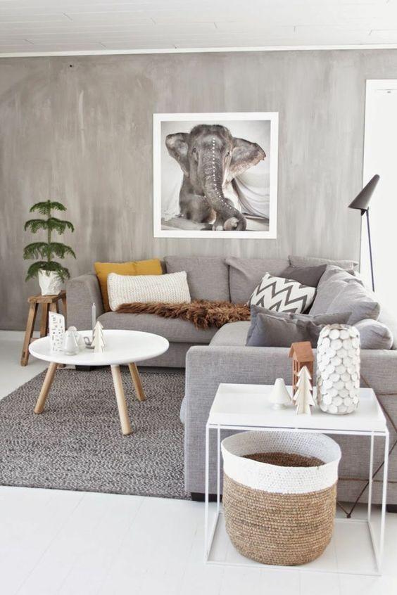 salas color cafe con gris