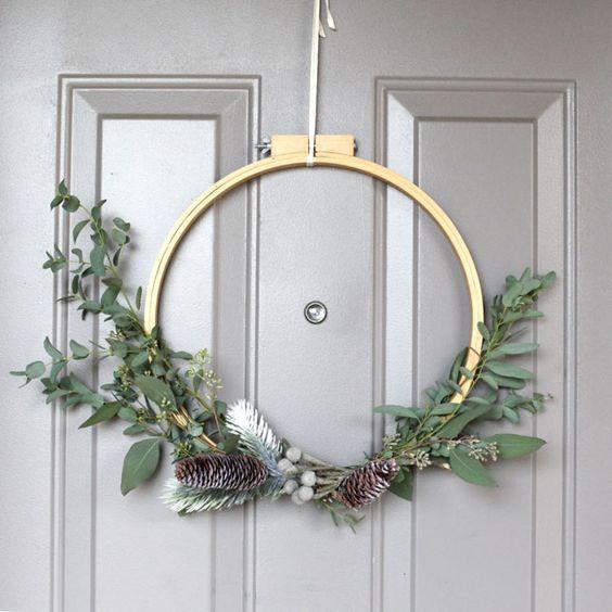 Coronas de navidad con bastidores sencillas