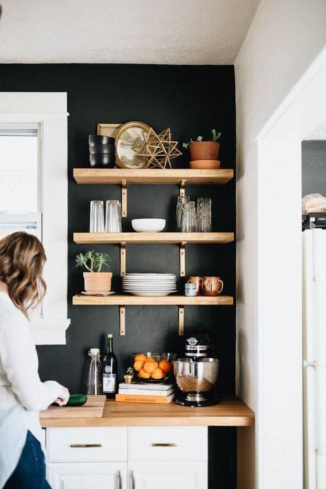 Estantes de madera para cocina modernas