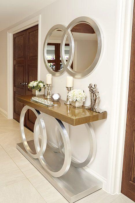decoracion de espejos para sala con tocador elegantes