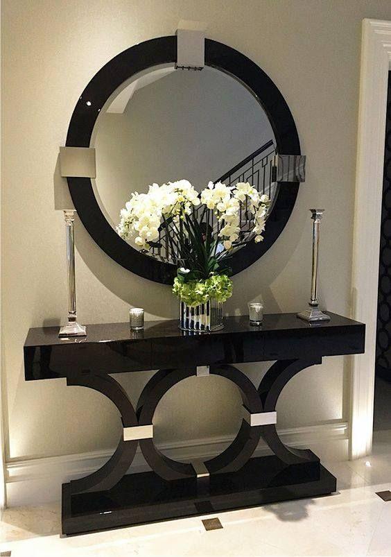 ideas para decorar tu sala con tocador y espejo pequeños de madera