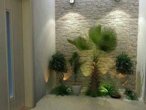 jardines para frentes de casas pequeñas con palmeras