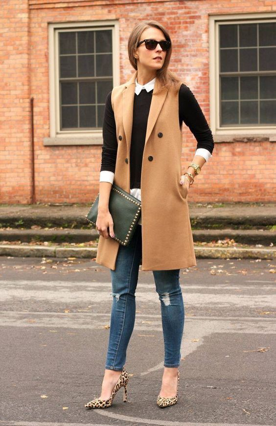 outfit chaleco largo beige