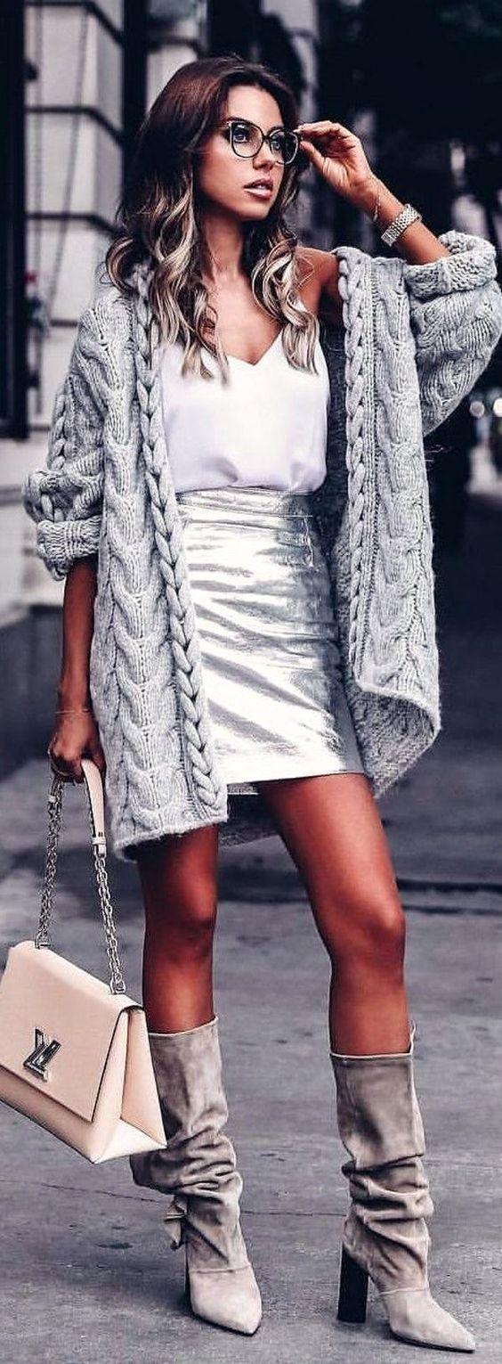outfit chaleco largo tejido