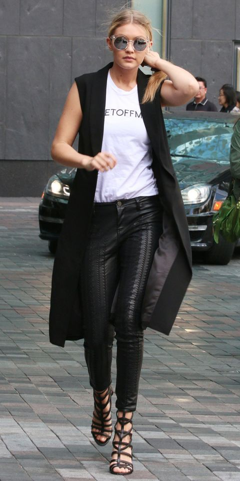 outfit chaleco negro largo mujer
