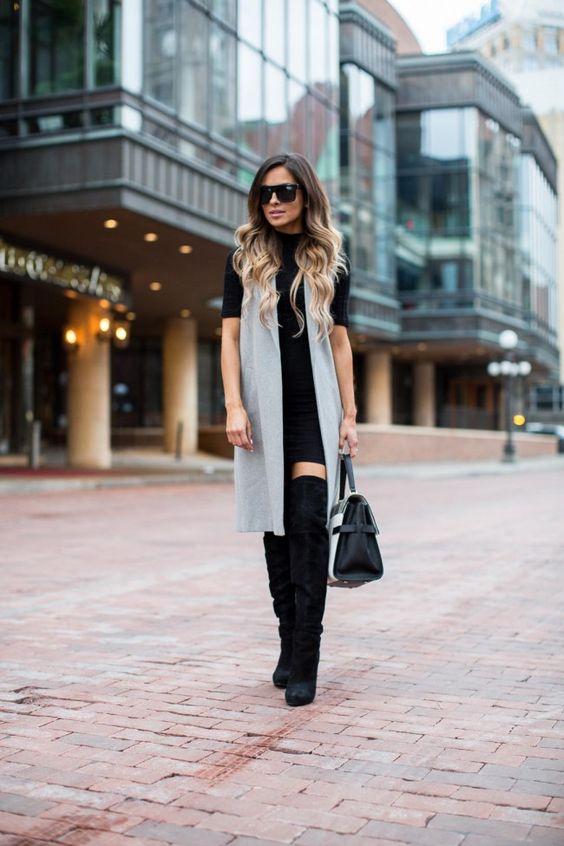outfit con chaleco largo gris