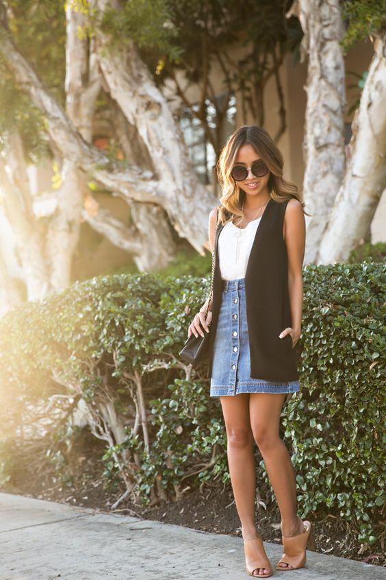 outfit con maxi chalecos y faldas