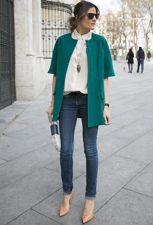 outfits con jeans para otoño invierno - mujeres maduras