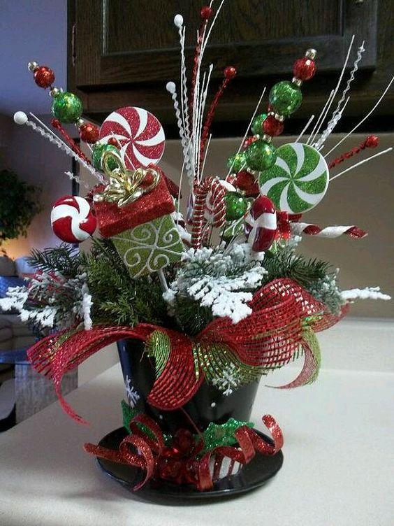 centros de mesa para navidad con caramelos