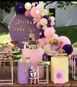 cumpleaños de princesa rapunzel para fiesta de 3 años