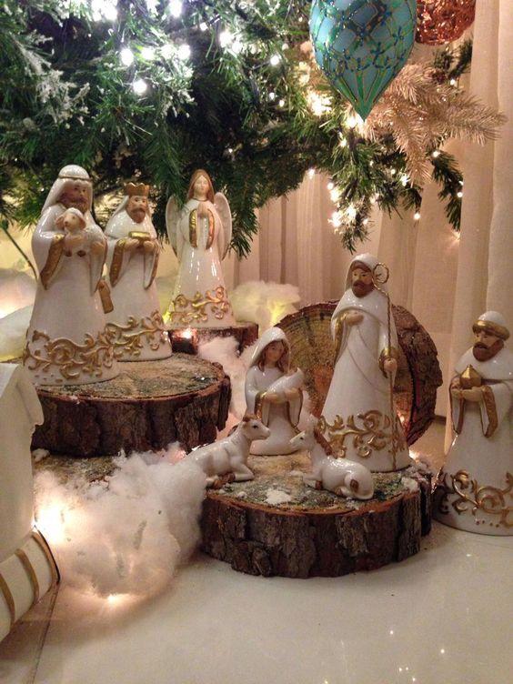 decoracion de nacimiento navideño con madera