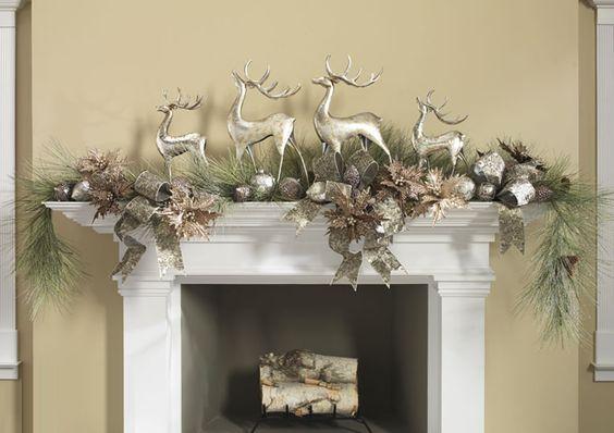 detalles navideños para decorar la chimenea elegante