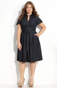 look con vestidos de oficina para gorditas en colores obscuros