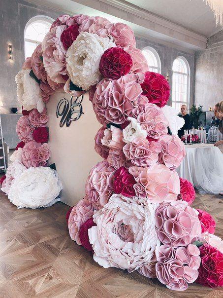mamparas con flores de tela para fiestas