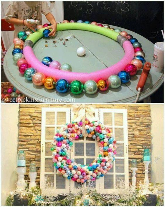 adornos navideños con esferas para ventanas