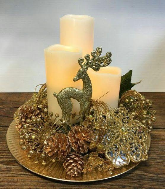 arreglo navideño en platon color dorado