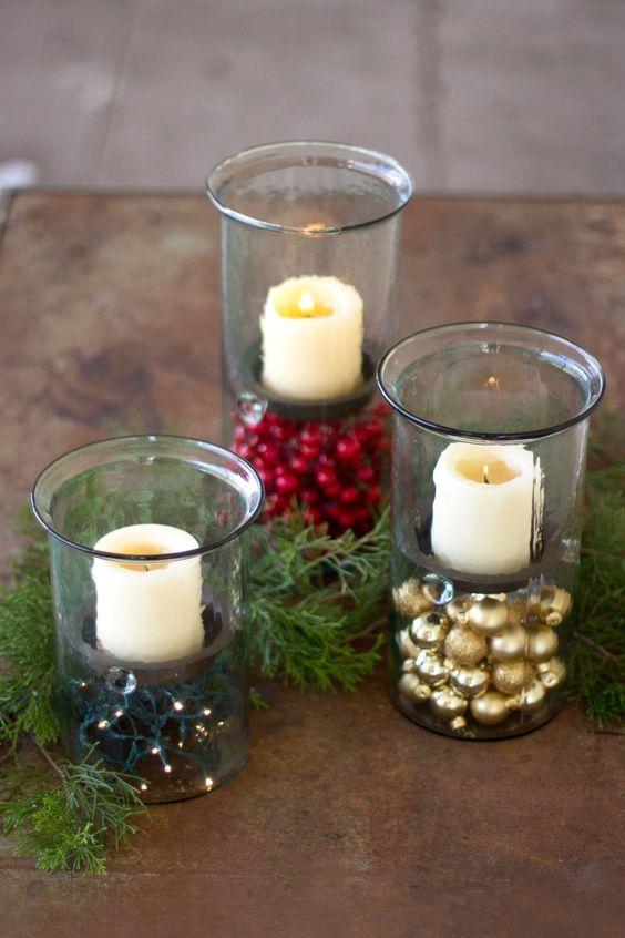 centros de mesa navideños con esferas para decorar la casa