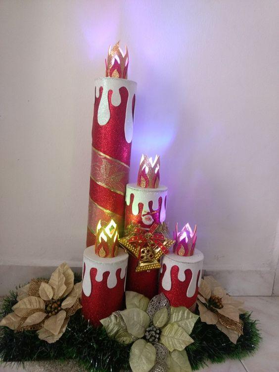 como hacer velas navideñas con tubos de carton y foami