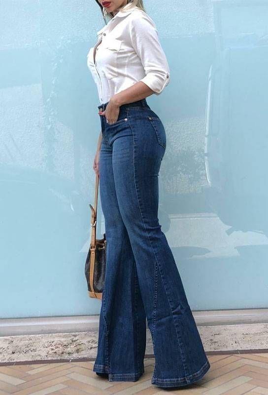 disimula el vientre bajo con jeans de campana